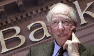 Rothschild vyobrazen před nápisem banky jako někdo kdo řídí světovou ekonomiku.
